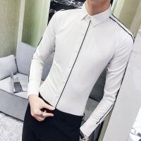 新款男士条纹长袖衬衫春秋季韩版潮流衬衣发型师时尚修身小衫