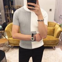 春季英伦时尚短袖打底针织衫男士韩版修身个性撞色圆领毛衣潮