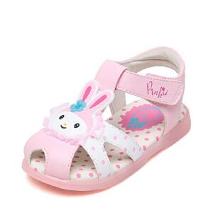 鞋柜shoebox苹绮女孩小童鞋夏季包头防滑魔术贴女童凉鞋