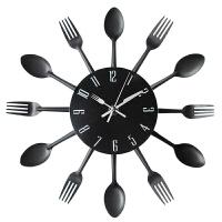 欧式厨房挂钟客厅刀叉创意时尚个性 勺叉美式时钟 卧室挂表 黑色 1502黑色 12英寸