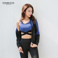 【到手价159】Kombucha瑜伽健身四件套2018新款速干透气吸汗透气健身跑步四件套装KX8041T4