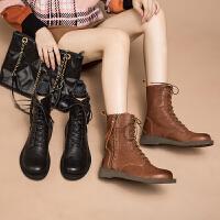 玛菲玛图秋冬真皮女靴子欧美复古英伦风马丁靴时尚百搭低跟女短靴机车靴1718-6TW