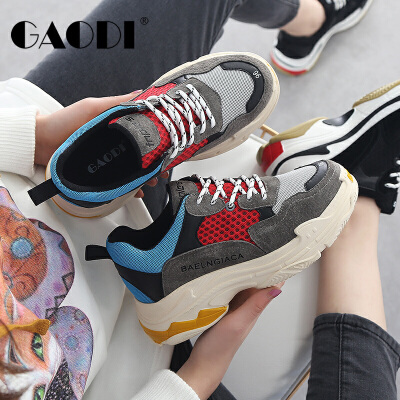 ins超火的鞋子2018新款松糕熊猫女鞋拼色休闲运动鞋老爹鞋子女
