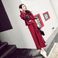 产后哺乳衣套装外出秋季时尚辣妈新款长袖卫衣两件套喂奶衣连衣裙 酒红色 X
