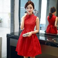2018春季新款韩版修身立领无袖礼服蕾丝连衣裙小红裙A字裙蓬蓬裙