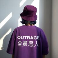 日系个性文字印花短袖T恤男情侣半袖宽松纯色打底衫潮