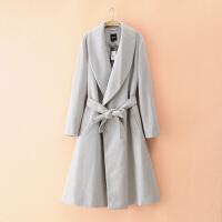 尾货 2017大码女装欧美毛呢系带风衣女士百搭长款显瘦翻领外套
