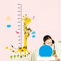 小孩量身高力表测视力表挂图标准儿童家用墙贴可移除 I 猴子长颈鹿身高贴 F7-4 特大