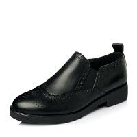 Tata/他她春季专柜同款时尚休闲小牛皮革女单鞋2I2A6AM6