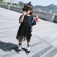 女童连衣裙夏装新款洋气甜美超仙公主裙女童纯色纱裙宝宝裙子