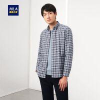HLA/海澜之家加绒格纹衬衫2019冬季新品温暖时尚长袖保暖衬衫男