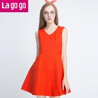 【满200减100】Lagogo2017春秋新款V领无袖红色背心连衣裙冬季显瘦打底女裙子FDLL27G880