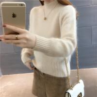 秋冬季加厚短款毛衣女士韩版宽松半高领纯色套头时尚长袖打底衫潮