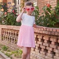 派克兰帝童装女童梭织连衣裙夏季新款时尚雪纺蝴蝶结连衣裙
