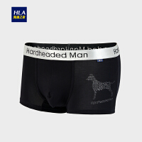 HLA/海澜之家2018秋季新品舒适印花中腰男士针织平脚短裤