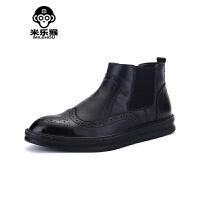 米乐猴 潮牌春夏男士马丁靴军靴皮靴高帮鞋靴子男韩版休闲短靴潮靴透气男鞋