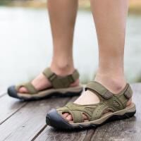 CUM 潮牌夏季牛皮运动凉鞋男户外休闲沙滩鞋溯溪鞋男大码包头凉拖
