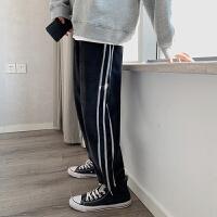 2019男潮牌宽松裤男士秋款青年时尚侧边条纹直筒松紧裤帅气休闲裤
