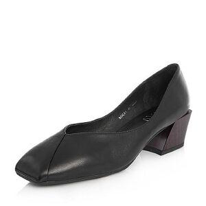 BASTO/百思图2018春季专柜同款羊皮小V口复古方头奶奶鞋女单鞋RGC21AQ8