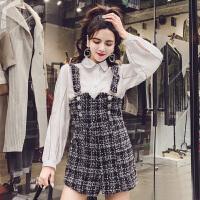 春装新款韩版翻领线条灯笼袖衬衫+高腰粗花呢背带裤套装女