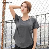 【折上1件8折/2件7.5折】Kombucha运动健身短袖T恤2019新款女士性感网纱宽松透气跑步健身速干透气运动上衣JCTX364