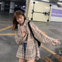 夏季韩版中长款宽松格子开衫防晒衣复古港风bf长袖衬衫外套上衣女 均码