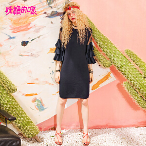 妖精的口袋小心机裙子2018新款短袖荷叶袖chic纯色连衣裙女