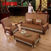 实木沙发坐垫/红木沙发垫加厚海绵带靠背时尚木椅垫定做纯色连体