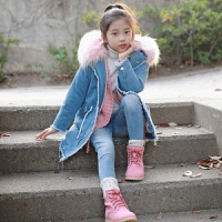 2019 韩版女童装大毛领中大童牛仔夹棉外套中长款亲子装大衣 蓝色