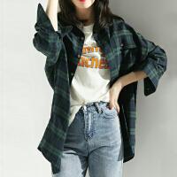 Lee Cooper 新款韩版格子衬衫中长款宽松清新百搭上衣衬衫女