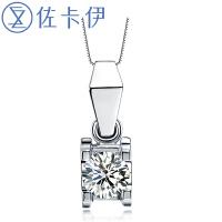 佐卡伊珠宝18K金钻石吊坠项链低调简约结婚项坠 定制铂金白金新款