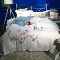 欧式绣花天丝棉麻四件套床上用品被套刺绣春夏贡缎提花床品