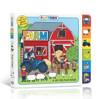 英文原版 Playtown: Farm: A Lift-the-Flap Book玩玩镇:农场纸板翻翻书 2-6岁儿童