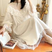 睡裙女春秋长款性感蕾丝长袖白色宽松可爱少女宫廷公主风睡衣 乳白色