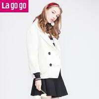 【618大促-每满100减50】lagogo拉谷谷正品冬季新款纯色修身显瘦短款毛呢外套女韩版呢大衣