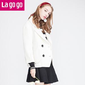 lagogo拉谷谷正品冬季新款纯色修身显瘦短款毛呢外套女韩版呢大衣