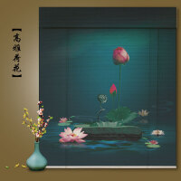 卷帘窗帘喷绘中国风禅意中式玄关挂帘画遮阳装饰茶室