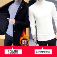 2018新款秋冬季外套男加绒加厚呢子大衣男士中长款风衣韩版修身帅