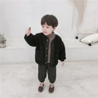 男童宝宝外套加绒冬装儿童羊羔绒上衣韩版开衫小童婴儿棉衣加厚潮