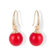红色珍珠耳环女气质长款耳坠简约甜美性感耳钩耳饰 简约