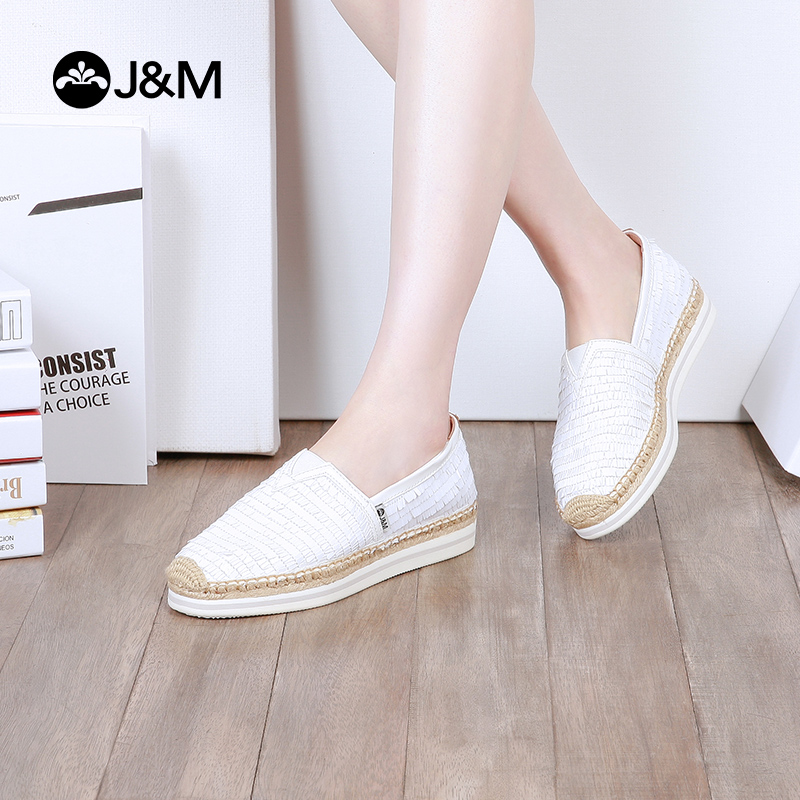 jm快乐玛丽夏季新款平底松糕套脚亮片舒适渔夫鞋女鞋子
