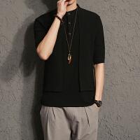 18夏季潮男薄款宽松五分袖假两件圆领衬衫潮流个性发型师服装衬衣