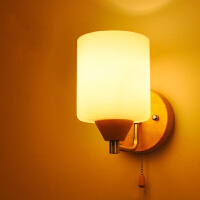 【满199-100】实木壁灯过道阳台北欧原木风格卧室床头简约YX-LMD-2124