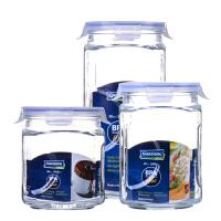 Glasslock 三光云彩玻璃保鲜罐密封罐盖杂粮储物收纳茶叶罐奶粉瓶玻璃糖罐IG534三件套