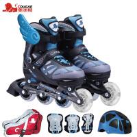 轮滑鞋旱冰鞋成年人男女 溜冰鞋儿童全套装可调小孩