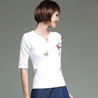 中国风女装上衣 民族风夏季新款绣花中袖v领修身棉T恤打底女