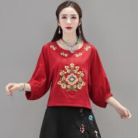 中国风女装春装民族风刺绣花宽松上衣灯笼袖复古T恤七分袖衬衣女