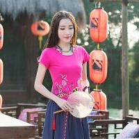 中国风女装上衣 夏装新款民族风绣花修身刺绣弹力棉短袖t恤女