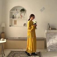 春季新款韩国复古超仙女清新宽松百搭中长款纯色木耳边雪纺连衣裙