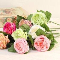 塑料玫瑰花假花仿真花艺客厅餐桌插花绢花装饰花束